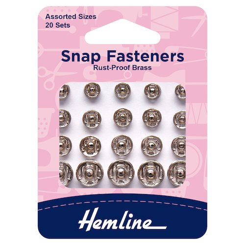 Hemline Snap Fasteners Assorted Sizes Pack of 20
