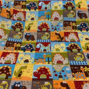 Dinosaur Squares 100% Cotton Fabric