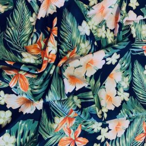 Viscose Print Fabric Navy Coral Flowers and Ferns