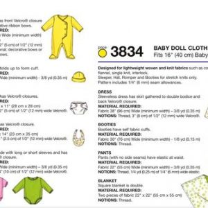 "Kwik Sew 16"" Baby Doll Clothes Pattern K3834"