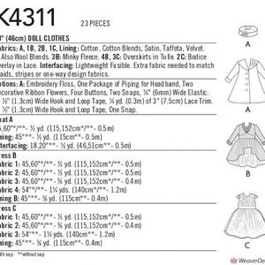 """Kwik Sew 18"""" Party/Christmas Doll Clothes Pattern K4311"""