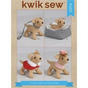"Kwik Sew 6"" Dog & Accessories For 18"" Doll Pattern K4315"