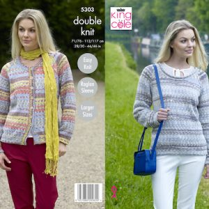 King Cole 5303 Ladies DK Cardigan and Jumper Knitting Pattern