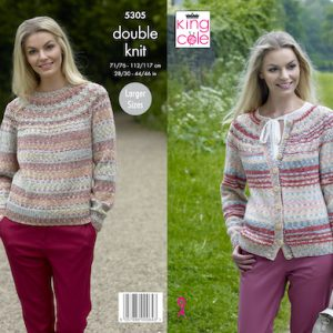 King Cole 5305 Ladies Jumper and Cardigan Knitting Pattern