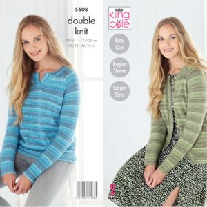 King Cole 5608 ladies Cardigan and Jumper knitting Pattern