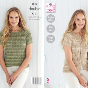 King Cole 5610 Ladies Short Sleeve Cardigan and Jumper knitting Pattern